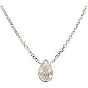 14K White Gold Pear Shaped Diamond Solitaire Necklace