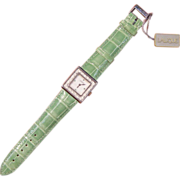 Lalique Swiss Movement Stainless Steel Ladies Watch with Green Crocodile Band