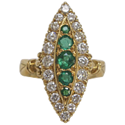 English Diamond and Emerald Navette shaped ring in 18K Gold