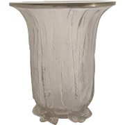 Rene Lalique Clear and Frosted Eucalyptus Vase
