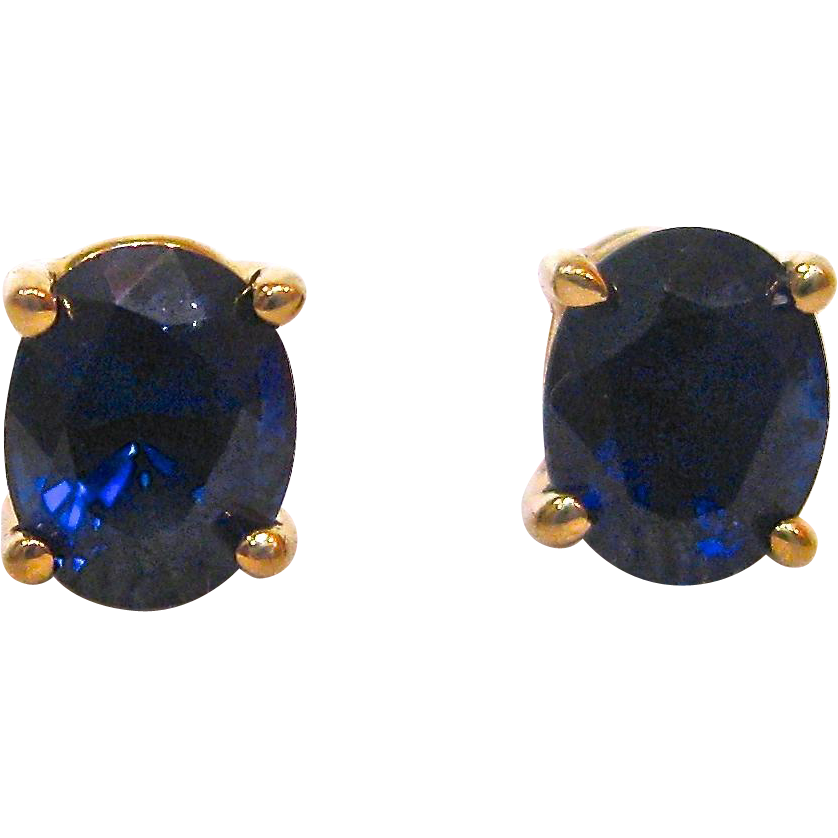 14 k yellow gold and sapphire post earrings from