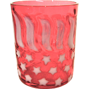 Stars & Stripes Pattern Opalescent Cranberry Tumbler