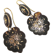 19th C. Victorian Floral Piqué Earrings