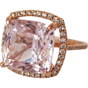 13 Carat + Kunzite & Diamond Halo Ring 14K Rose Gold