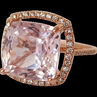 13 Carat + Kunzite & Diamond Halo Ring 14K Rose Gold