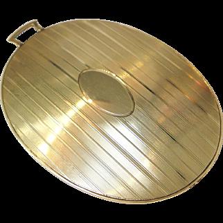 14 K Gold Engine Turned Pocket Mirror