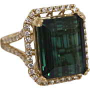 9 Carat Blue Green Tourmaline and Diamond 14K Gold Ring