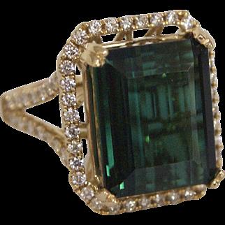 9 Carat Blue Green Tourmaline and Diamond 14K Gold Ring