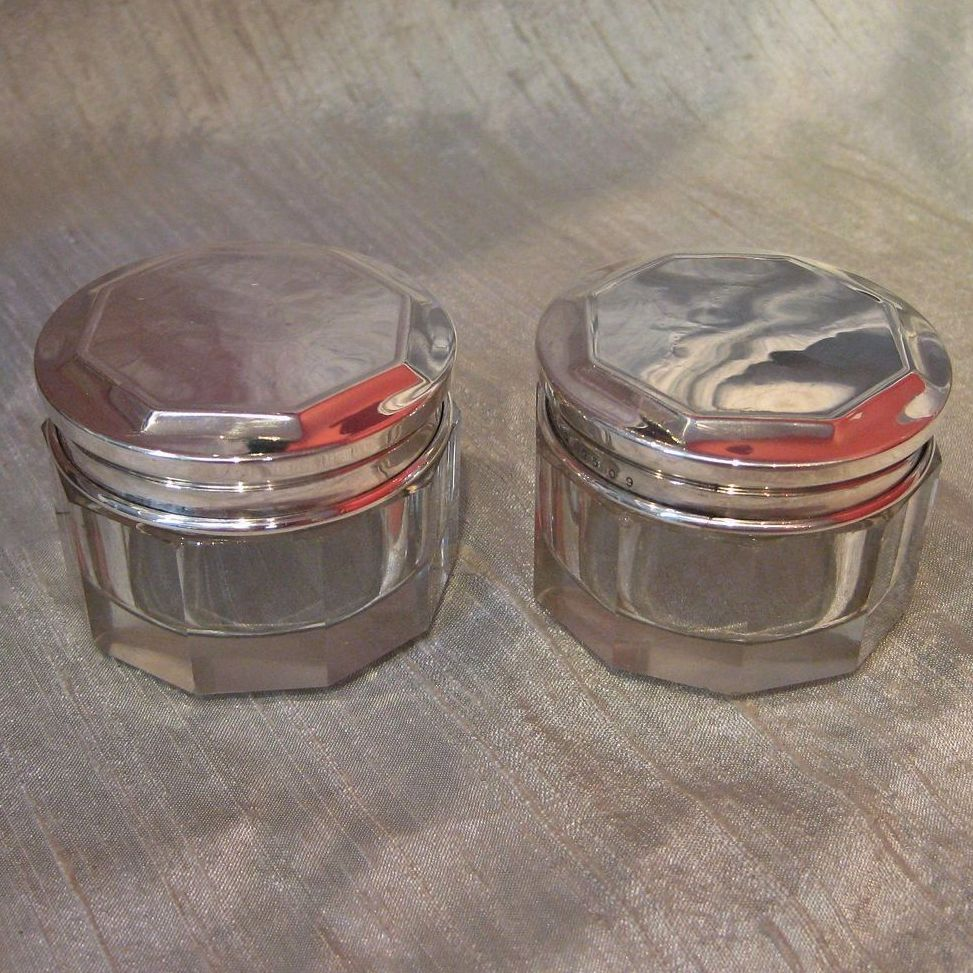 Pair of Sterling Silver Lidded Vanity Jars by R Wallace & Sons