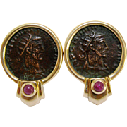 14K Gold Ancient Roman Coin Earrings with Ruby Cabochon
