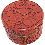 Vintage Chinese Red Cinnabar Box with Perched Bird and Lotuses
