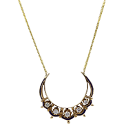 Victorian 14kt Gold, Blue Enamel, and Diamond Crescent Necklace
