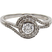 Vintage 18K White Gold & Diamond Ring