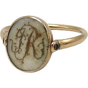 Georgian Era 12K Gold Swivel Mourning Ring