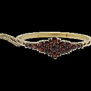 Bohemian Art Nouveau Red Garnet & Gold Bracelet