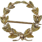 Victorian 14KT Gold Victory Wreath with Pearls