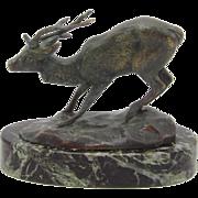 19th Century Animalier Barye Bronze Deer