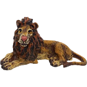 Austrian Cold Painted Bronze Lion Sculpture