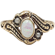 Edwardian 14kt Rose Gold, Opal and Seed Pearl Ring