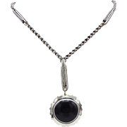 Victorian Banded Agate Sterling Silver Necklace
