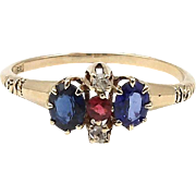 Victorian 14kt Rose Gold, Sapphire, Ruby and Diamond Ring