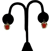 Victorian 10KT Gold Red Glass Flower Earrings