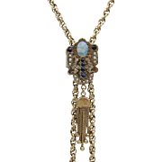 Victorian 14KT Gold Sliding Necklace with Opal, Sapphires, and Pearls