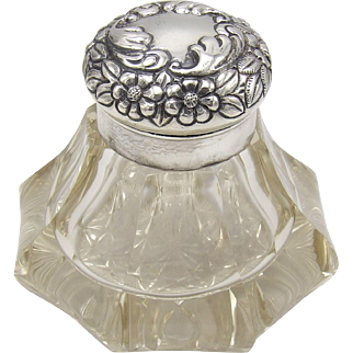 Whiting Co. Cut Crystal & Sterling Silver Ink-well