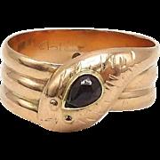 Victorian 9kt Rose Gold and Garnet Snake Ring