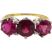14kt Gold, Platinum, and Natural Rubelite Ring