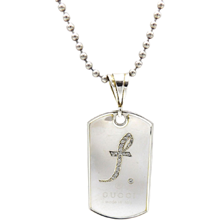 Vintage Sterling Silver and Diamond Gucci Dog Tag