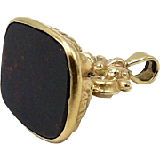 9kt Gold and Bloodstone Watch Fob Pendant, circa 1906