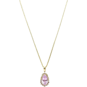 Vintage 14kt Gold, Kunzite and Cognac Diamond Necklace