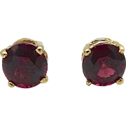 14kt Gold and Red Tourmaline Earrings
