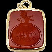 Victorian-era 14kt Gold and Carnelian Intaglio Pendant