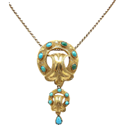 Etruscan Revival 14kt Gold and Turquoise Pendant