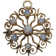 14 K Gold Victorian Opal Brooch and Pendant