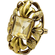 Arts & Crafts Era 14kt Gold and Citrine Ring, 3.35 ctw