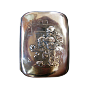 Sterling Silver Cigarette Case with Image of Gamblers