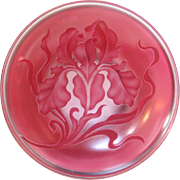 Val St. Lambert Cameo Glass Carved Orchid Box, circa 1880