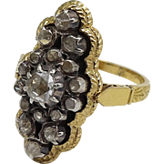 Georgian 18K Gold Ring with Rivière Diamond Cluster