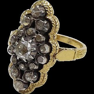 Georgian 18K Gold Ring with Rivière Diamond Cluster