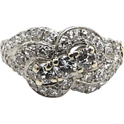 Vintage Ribbon Diamond Design Platinum Ring