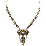 Austro Hungarian Pendant Necklace with Gilt Silver, Garnets, Emeralds and Pearls