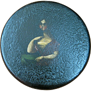Papier Mache Round Portrait Snuff Box of a Woman