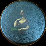 Papier Mache Round Portrait Snuff Box of a Woman