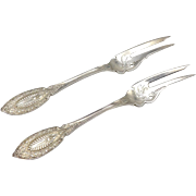 "A Pair of John Polhamus ""Princess"" Pattern Sterling Silver Two Tine Forks"