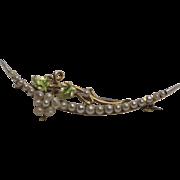 14K Gold Pearl and Enamel Art Nouveau Brooch