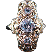 Filigree Art Deco Yellow Gold and Diamond Ring