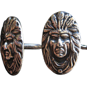 Unger Bros Indian Chief Sterling Silver Cufflinks